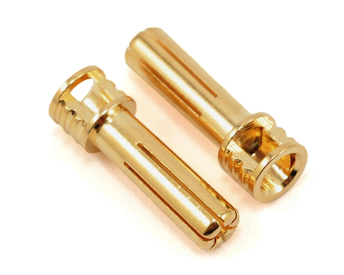 "5mm ""Flat Top"" Male Bullet Connector (Gold) (2) by TQ Wire"