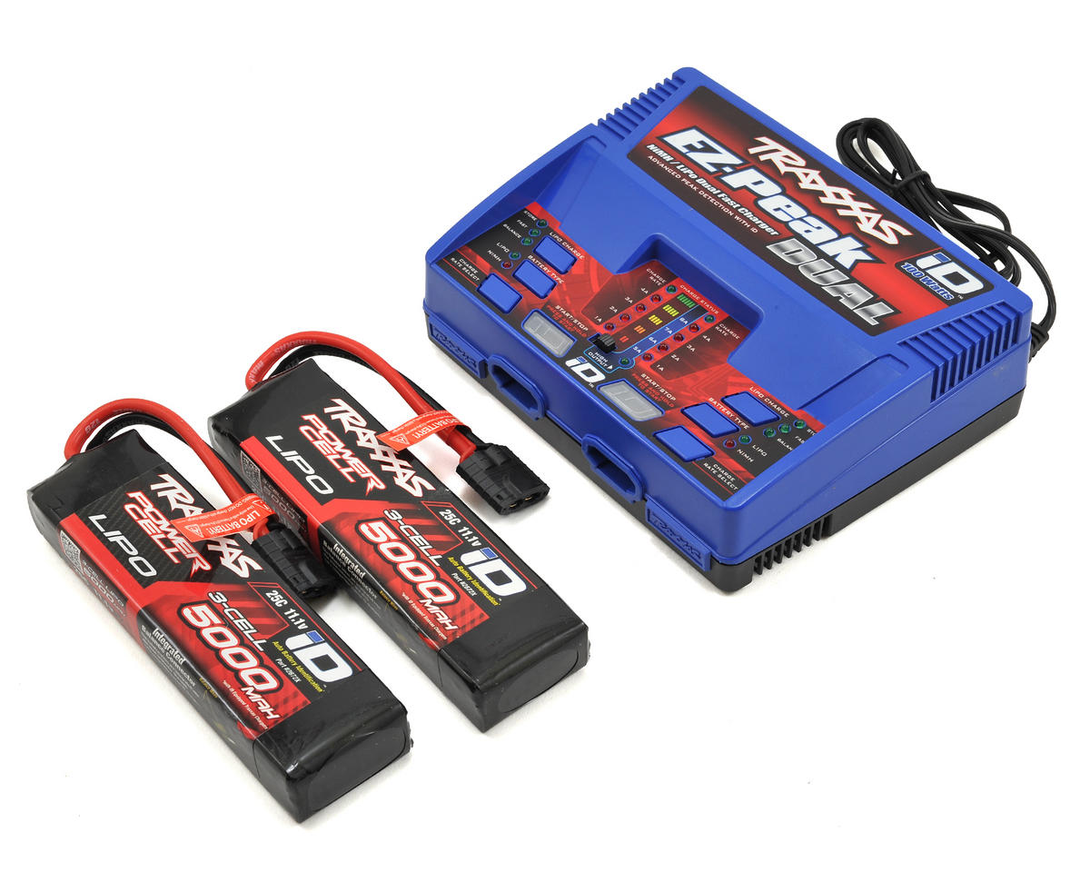 Traxxas EZ-Peak Dual Charger with 2x 5000mAh 3S Lipo Batteries (TRA2872X) TRA2990