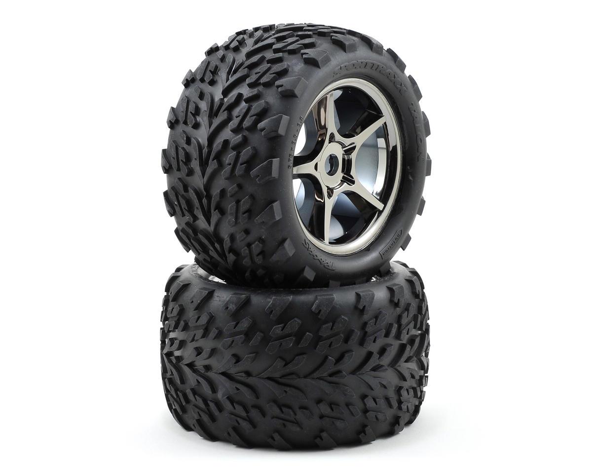 Traxxas Talon Pre-Mounted Tires w/17mm Gemini Wheels (2) (Black Chrome) TRA5374X