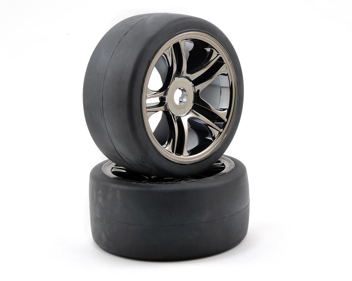 Traxxas Rear Tire & Wheel Set (2) (Black Chrome) (S1) TRA6477
