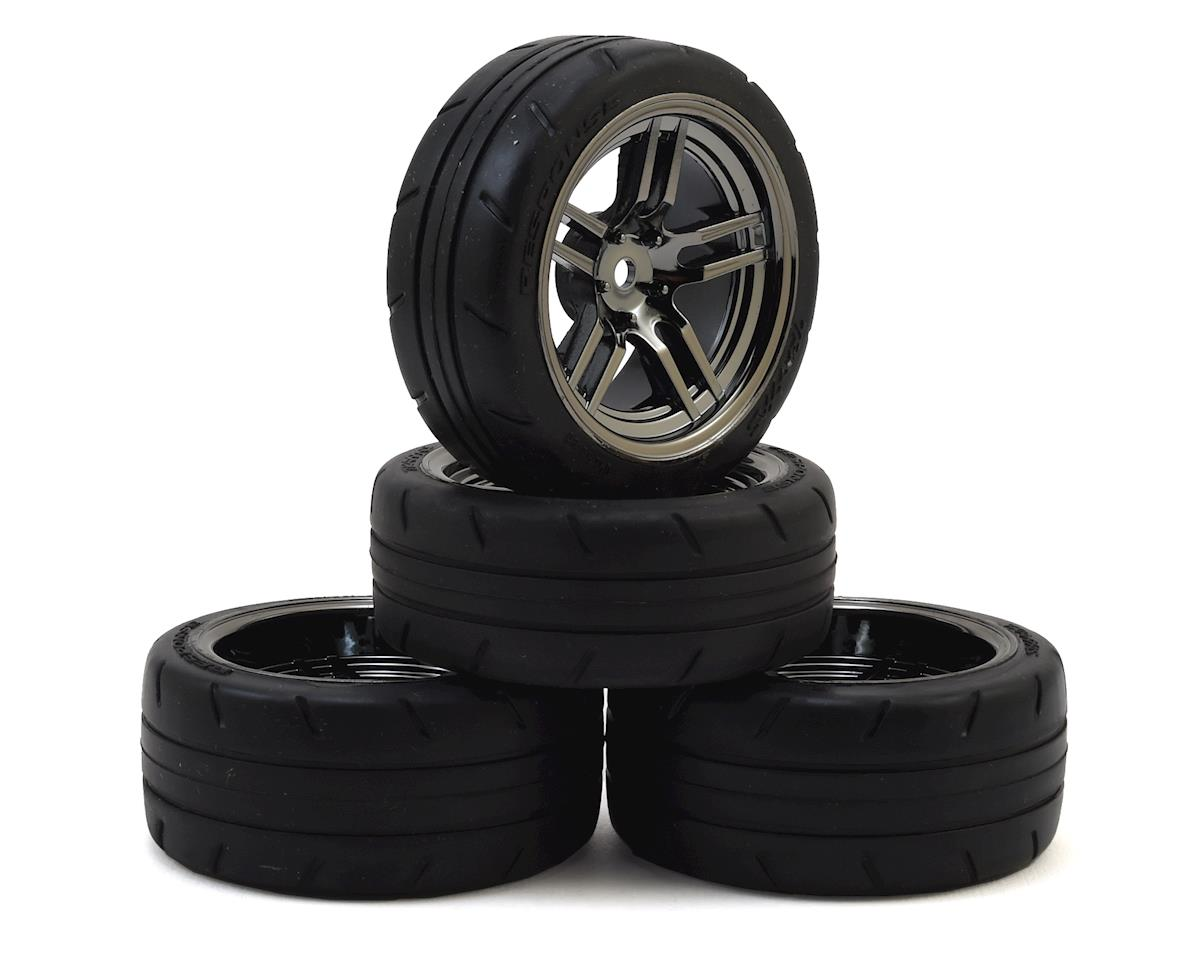 Traxxas Tires and wheels, assembled, glued (split-spoke black chrome wheels,1.9' Response tires, foam inserts) (front (2), rear (extra wide) (2)) (VXL rated) (4 wheels & tires total) TRA8375
