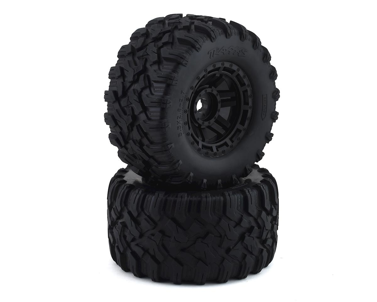 Traxxas Tires & wheels, assembled, glued (black wheels, Maxx All-Terrain tires, foam inserts) (2) (17mm splined) (TSM rated) TRA8972