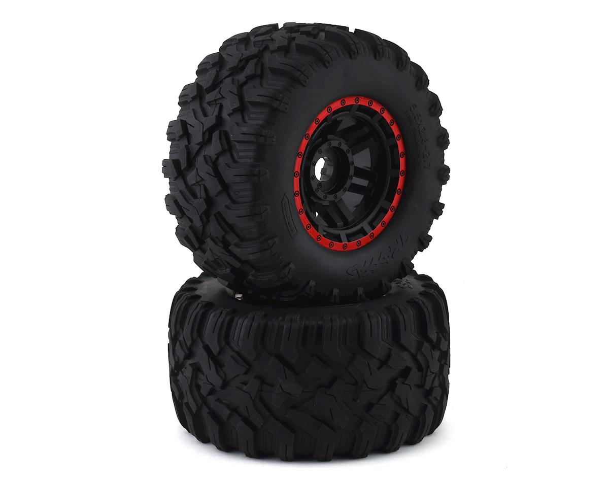 Traxxas Tires & wheels, assembled, glued (black, red beadlock style wheels, Maxx MT tires, foam inserts) (2) (17mm splined) (TSM rated) TRA8972R