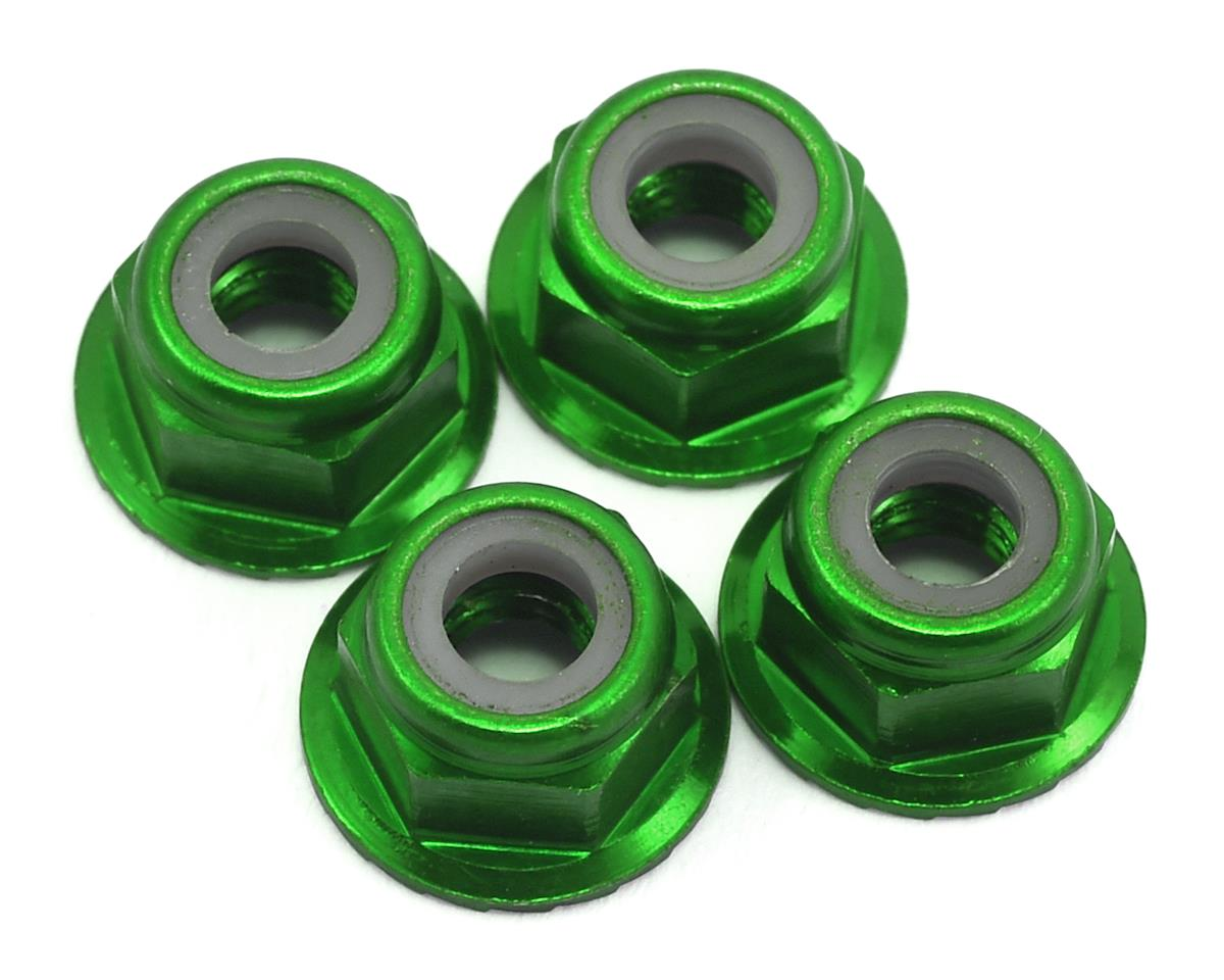 Traxxas 1/16 Race Truck 4mm Aluminum Flanged Serrated Nuts (Green) (4)