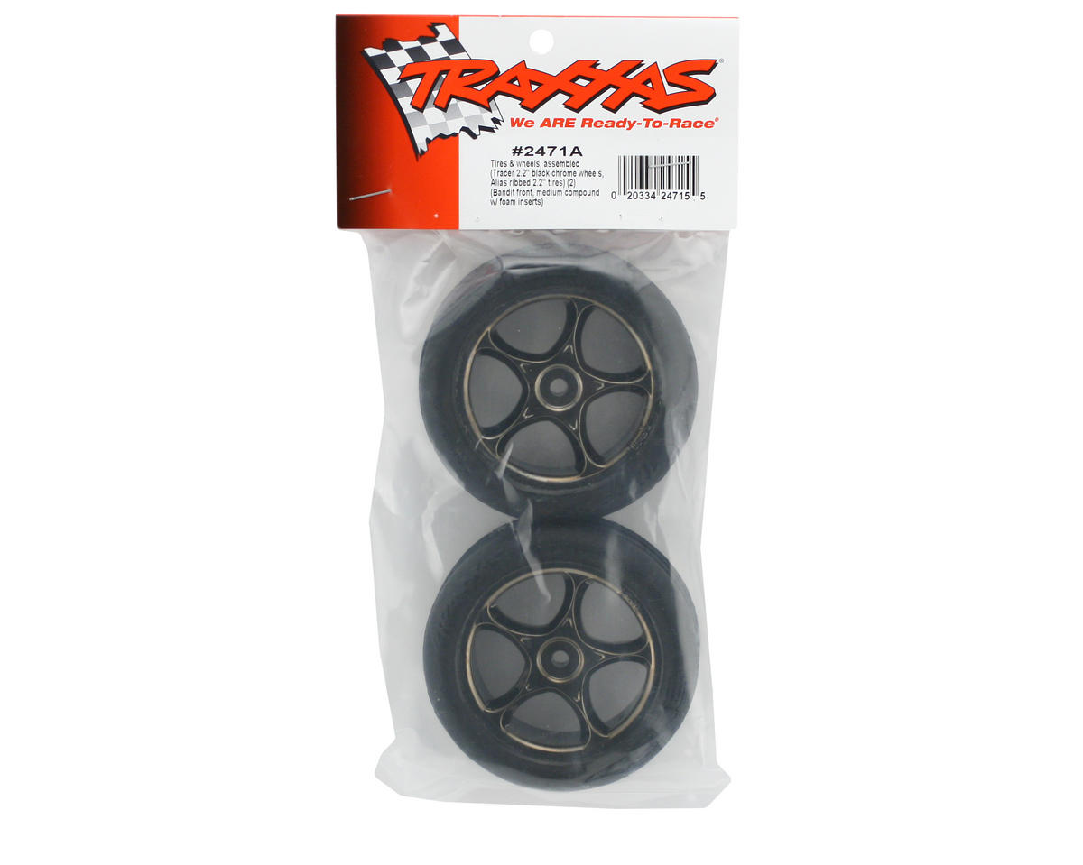 "Traxxas Alias 2.2"" Front Pre-Mounted Tires (2) (Black Chrome) (Standard)"