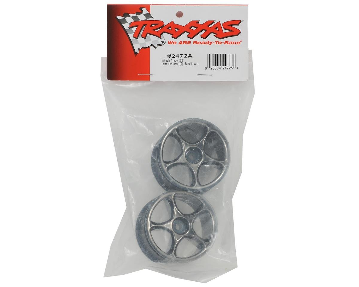 "Traxxas 2.2"" Bandit Rear Tracer Buggy Wheels (2) (Black Chrome) (Pins)"