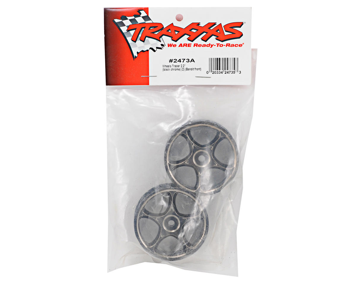 "Traxxas 2.2"" Bandit Front Tracer Buggy Wheels (2) (Black Chrome) (Pins)"