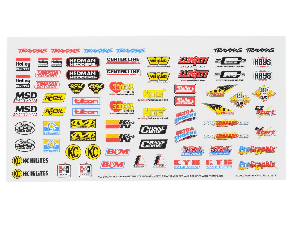 Traxxas Blast Racing Sponsors Decal Sheet