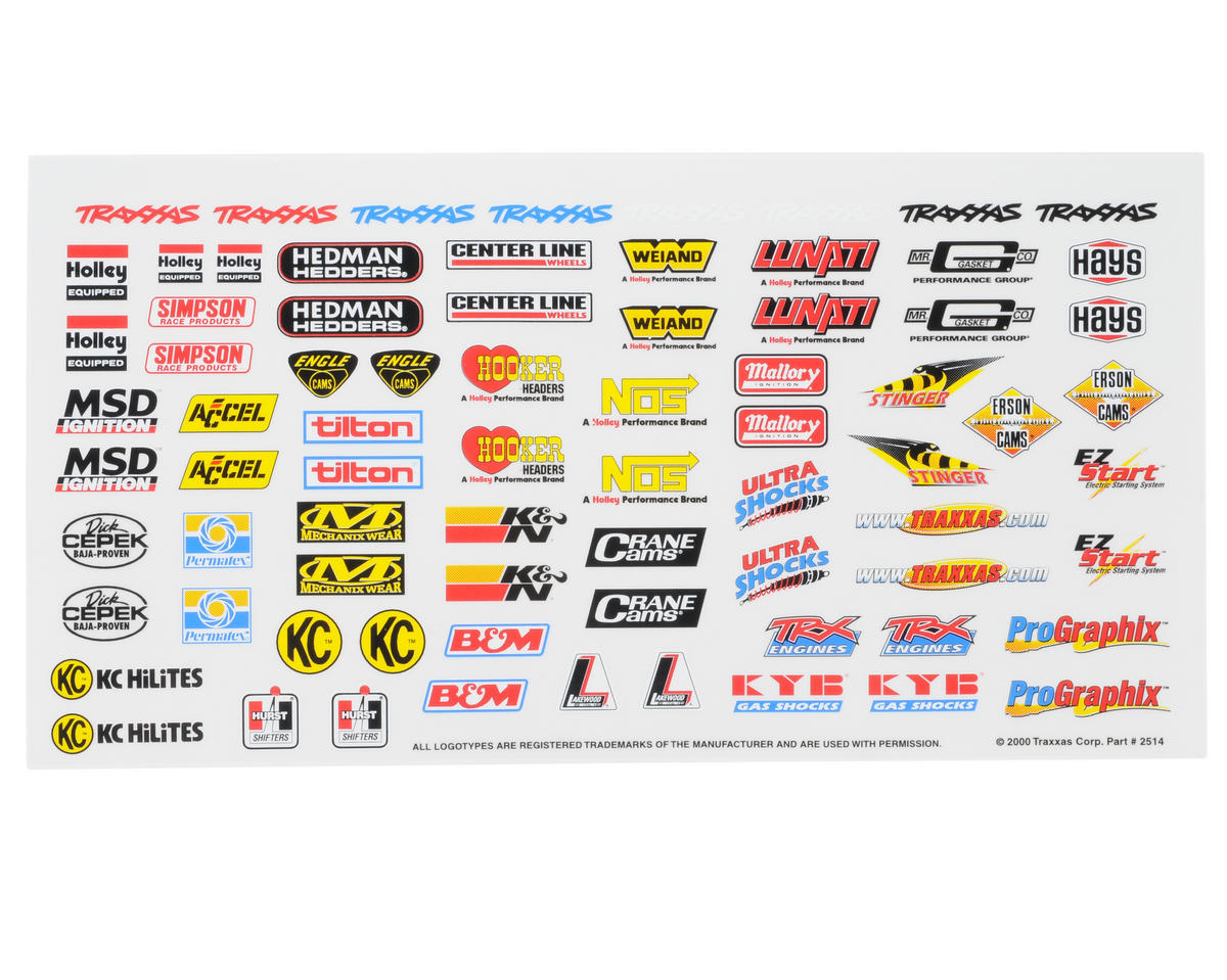 Traxxas 1/16 Mustang Racing Sponsors Decal Sheet