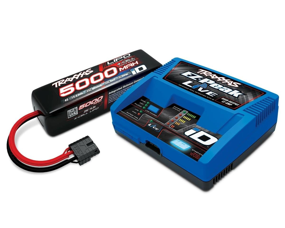 Traxxas EZ-Peak Live 100W 4S 12A Battery Charger + 5800mAh 2S 25C Completer Pack