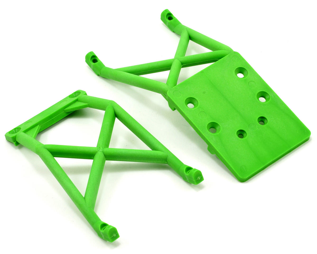 Front & Rear Skid Plate Set (Green) (Grave Digger) by Traxxas