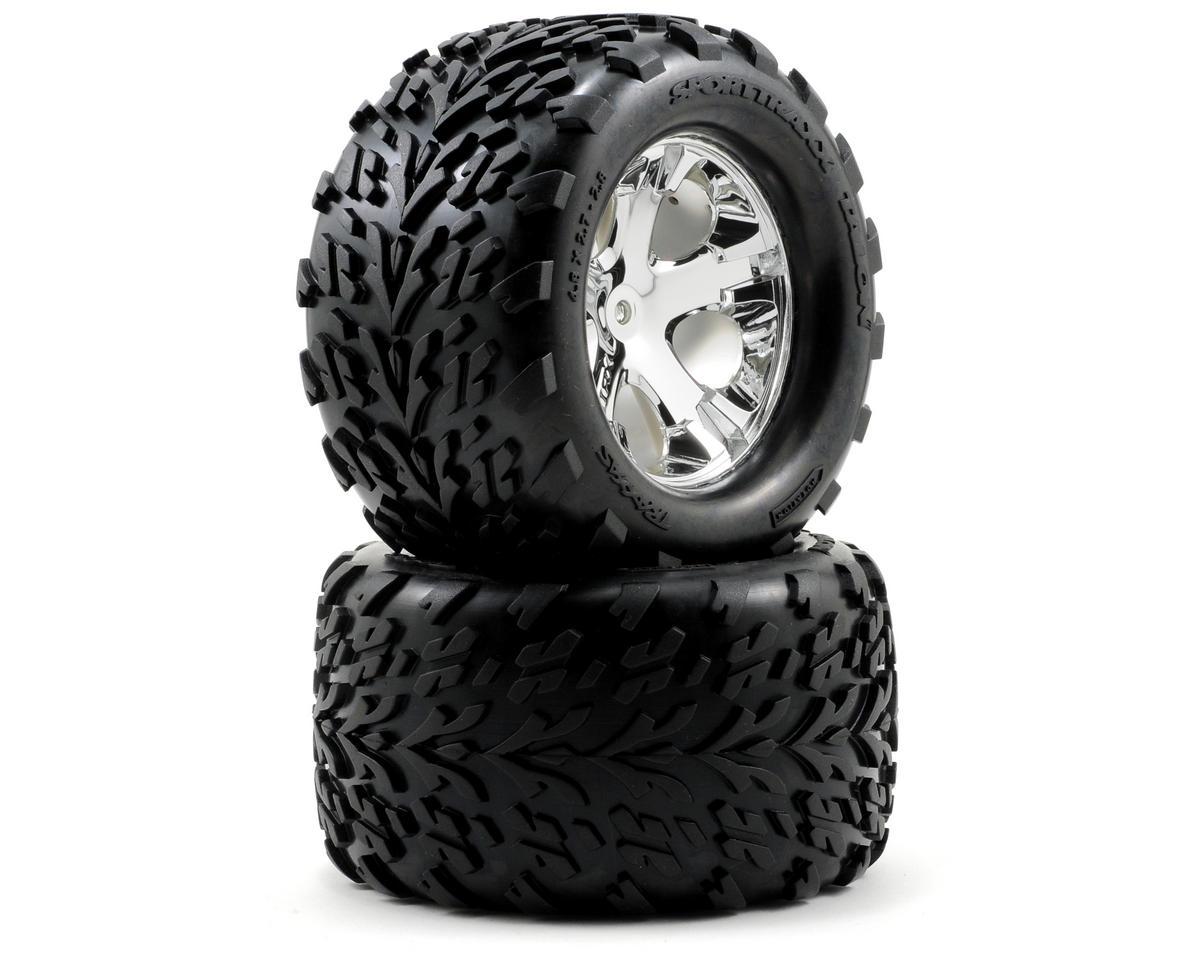 Talon Rear Tires w/All-Star Wheels (2) (Chrome) by Traxxas