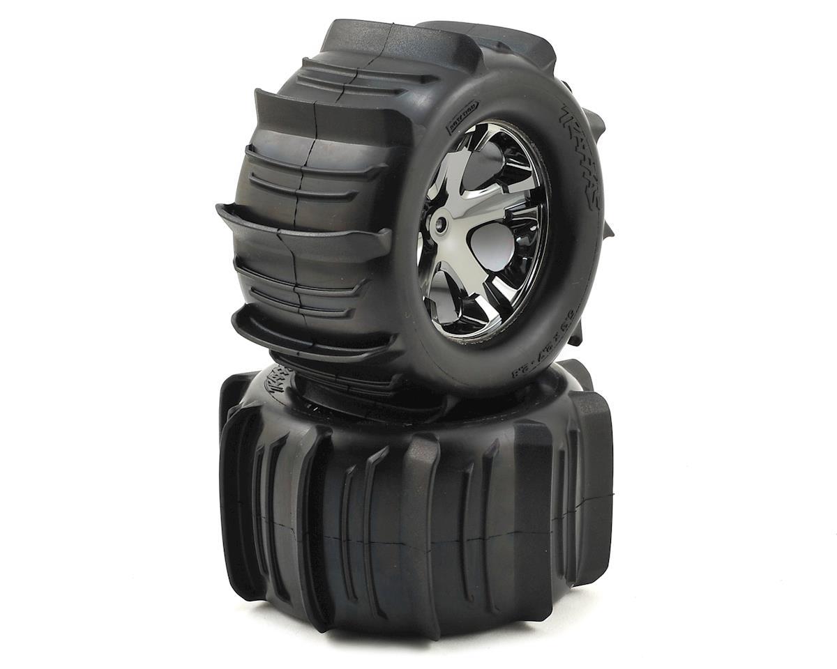 "Traxxas Rustler Paddle Tires 2.8"" Pre-Mounted w/All-Star Electric Rear Wheels (2)"