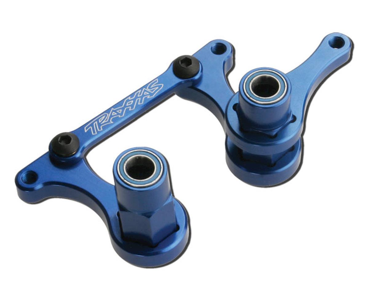 Traxxas Rustler T6 Aluminum Steering Bellcrank, Drag Link & 5x8mm Ball Bearings (Blue)