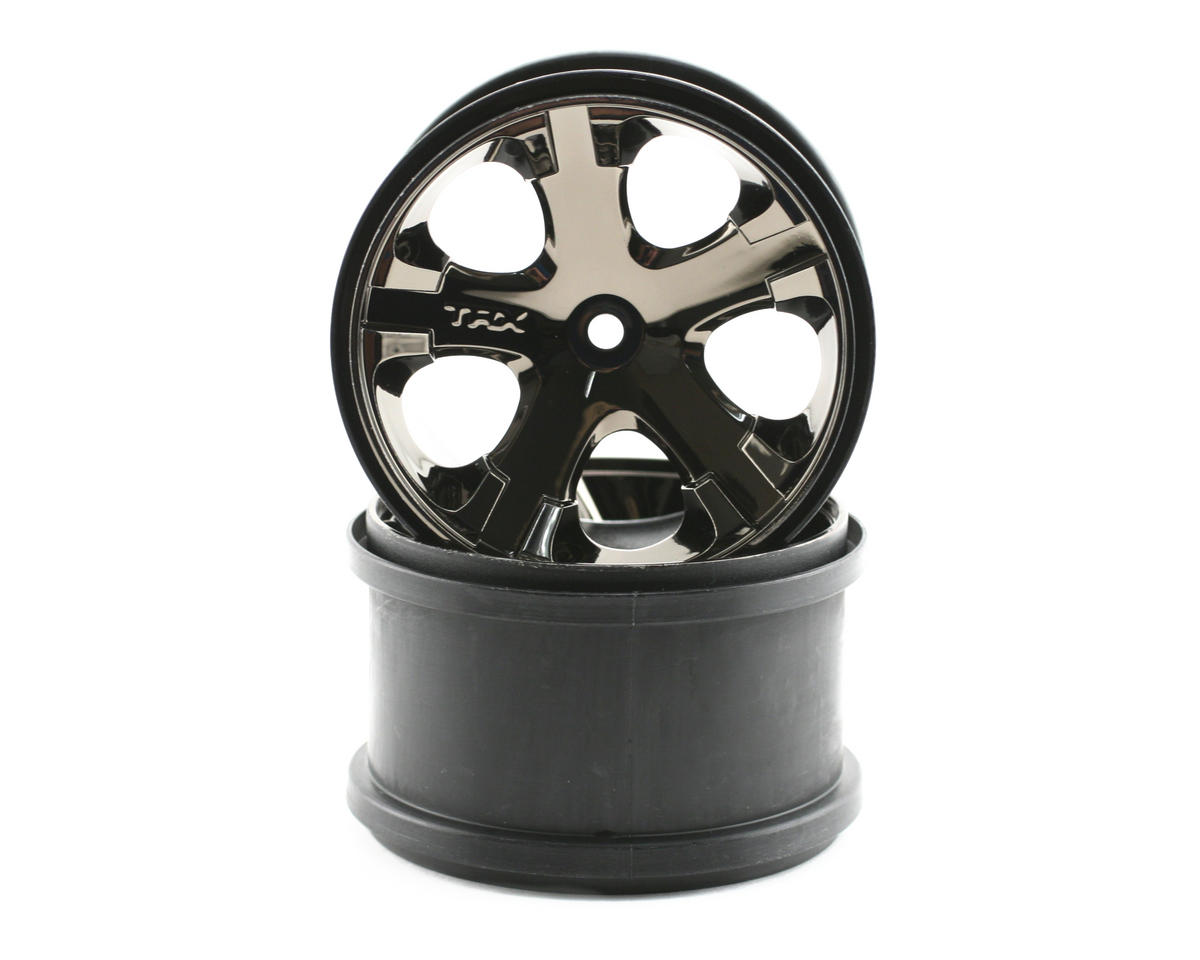"12mm Hex All-Star 2.8"" Rear Wheels (2) (Black Chrome) by Traxxas"