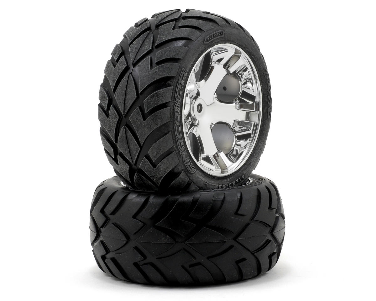 Traxxas Anaconda Rear Tires w/All-Star Wheels (2) (Chrome) (Standard)