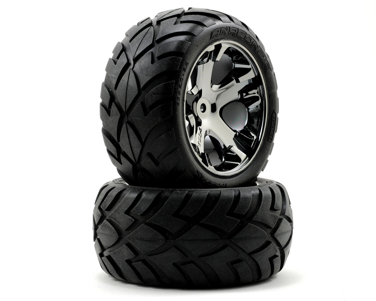Anaconda Rear Tires w/All-Star Wheels (2) (Black Chrome) by Traxxas