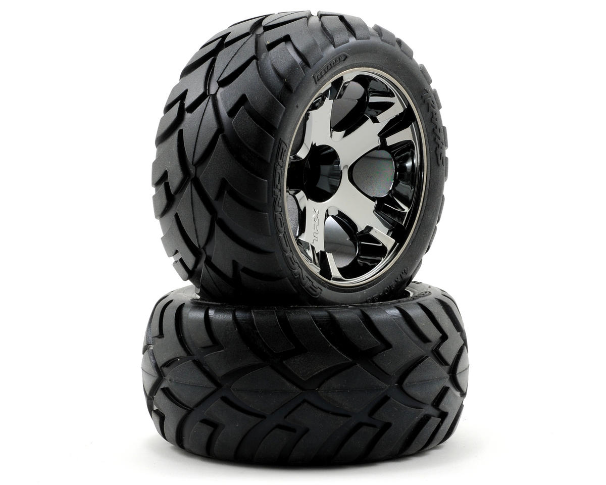 Anaconda Tires w/All-Star Front Wheels (2) (Black Chrome) by Traxxas