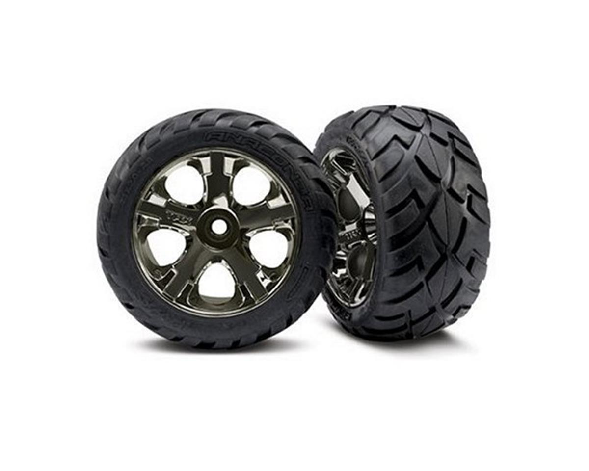 Anaconda Nitro Front Tires (2) (Black Chrome) by Traxxas