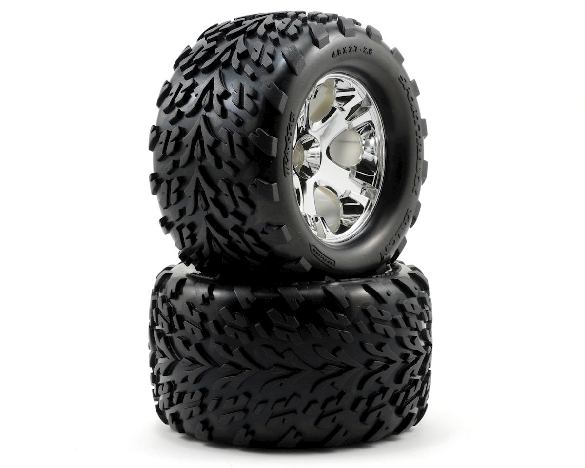 "Traxxas Nitro Stampede Talon Pre-Mounted 2.8"" Tires w/All-Star Front Wheels (2) (Chrome)"