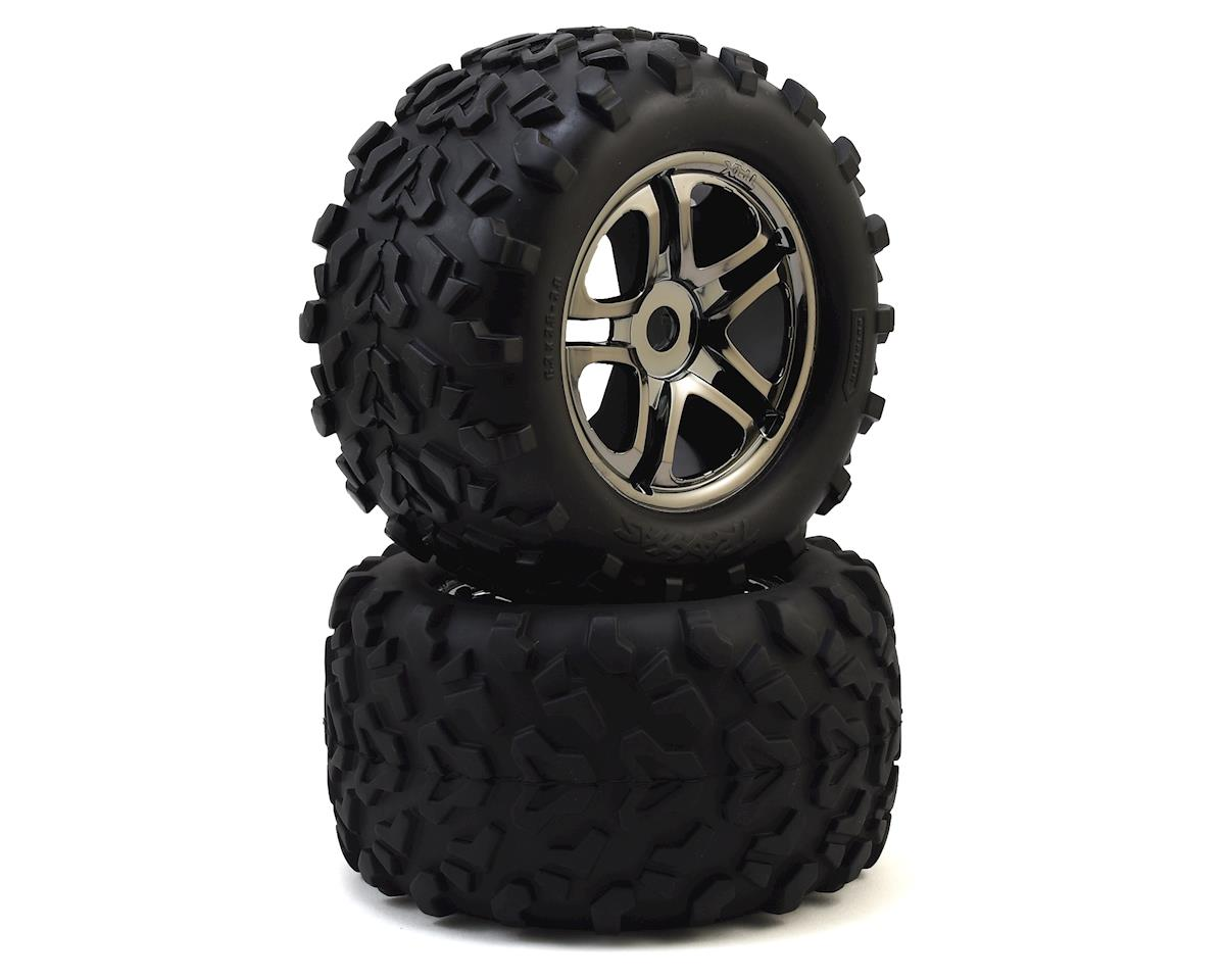 "Maxx Tires 3.8"" Pre-Mounted Tires w/Split Spoke Wheels (2) (Black) by Traxxas"