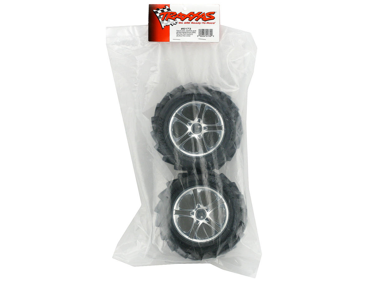 Traxxas Maxx Pre-Mounted Tires w/SS Split Spoke Wheels (2) (Revo,TMX) (Chrome)