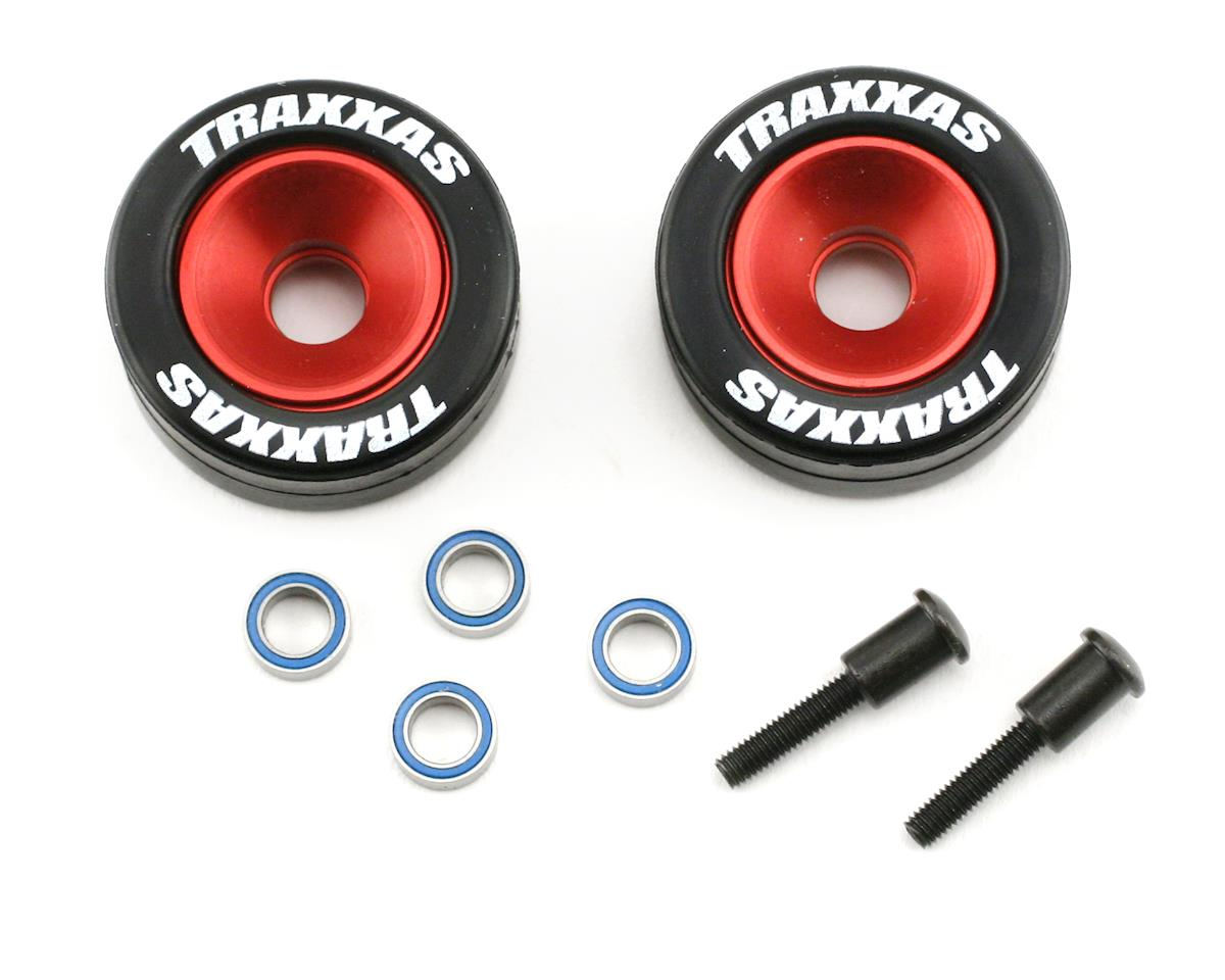 Machined Aluminum Wheels w/ Rubber Tires (Wheelie Bar) (2) by Traxxas