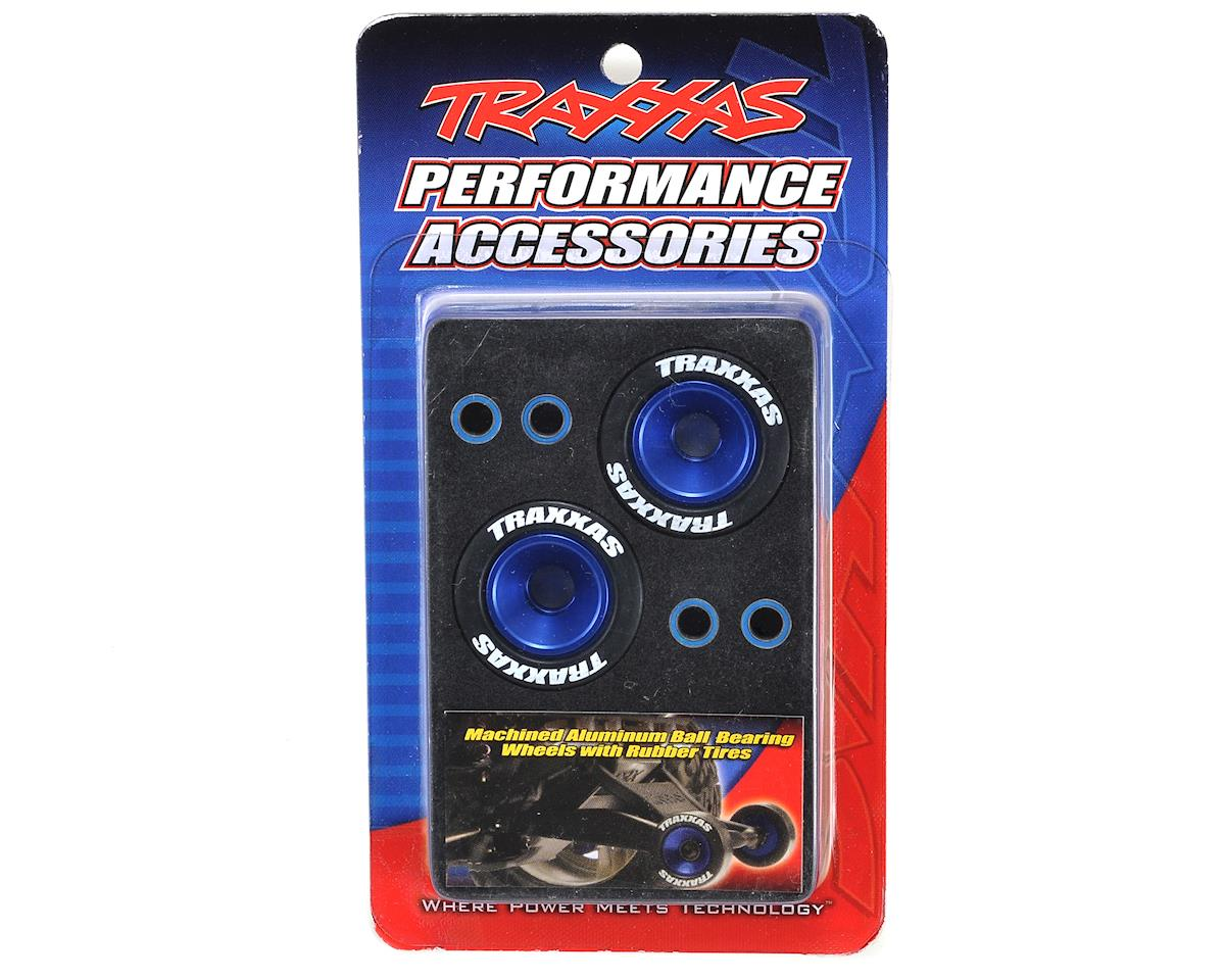 Traxxas Aluminum Wheelie Bar Wheel Set w/Rubber Tires (Blue) (2)