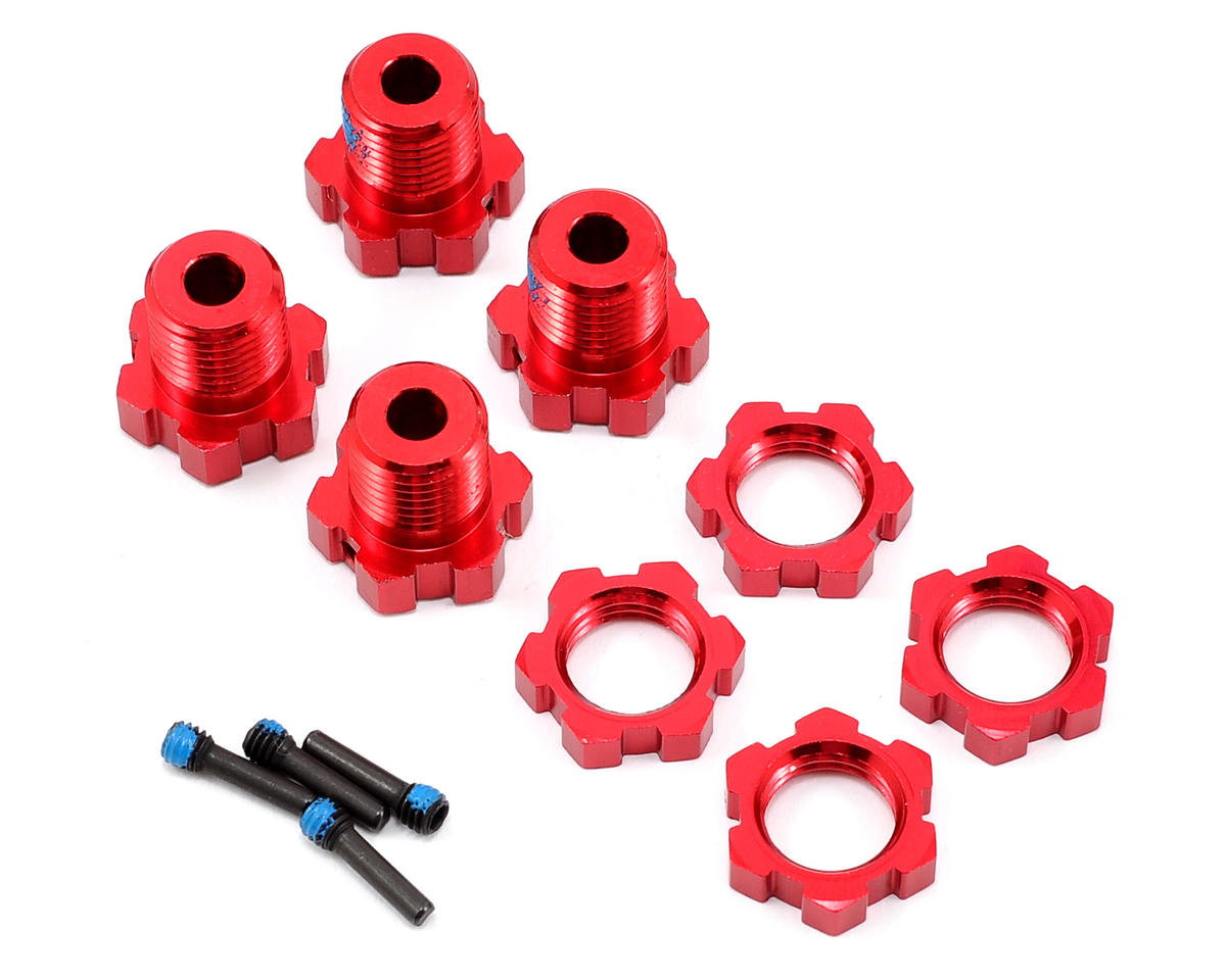 Traxxas E-Revo 17mm Splined Wheel Hub Set (Red) (4)
