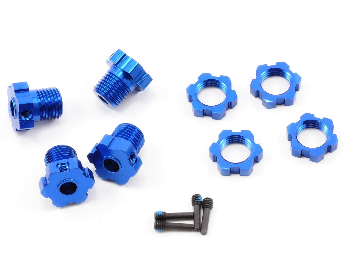 Traxxas E-Revo 17mm Splined Wheel Hub Set (Blue) (4)