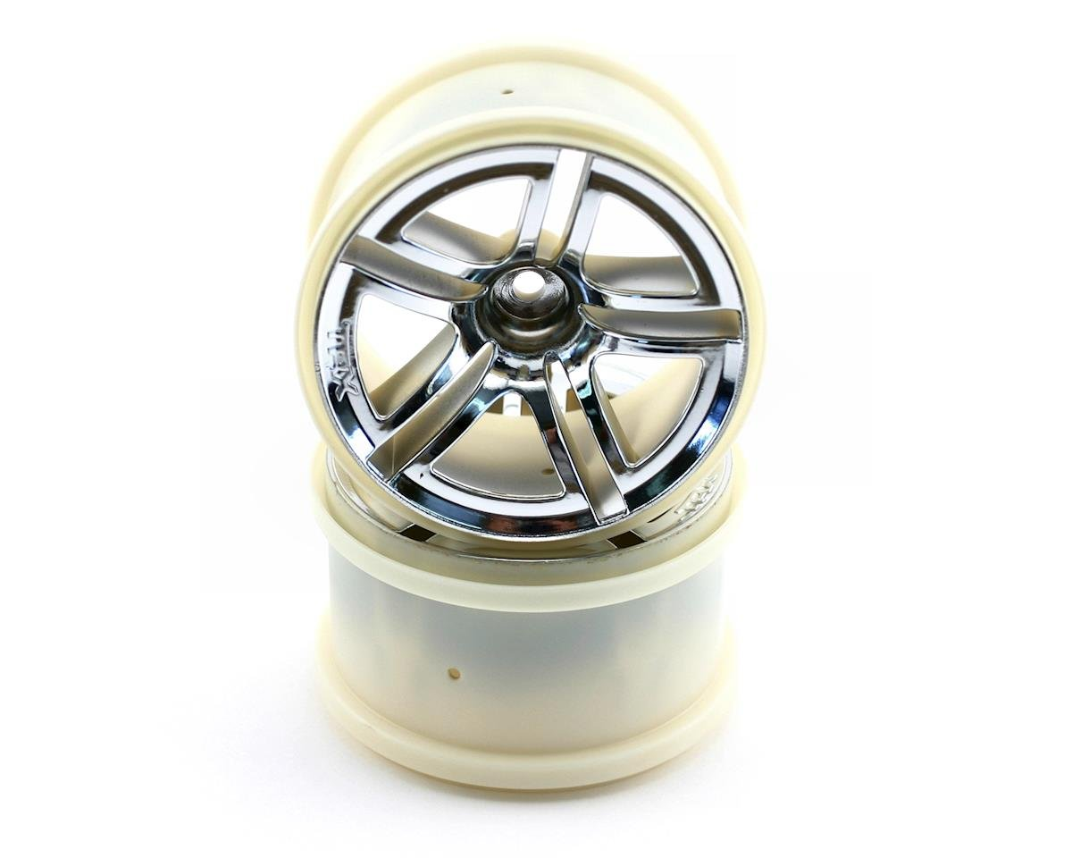 Image 1 for Traxxas 12mm Hex Twin Spoke Rear Wheels (2) (Jato) (Chrome)