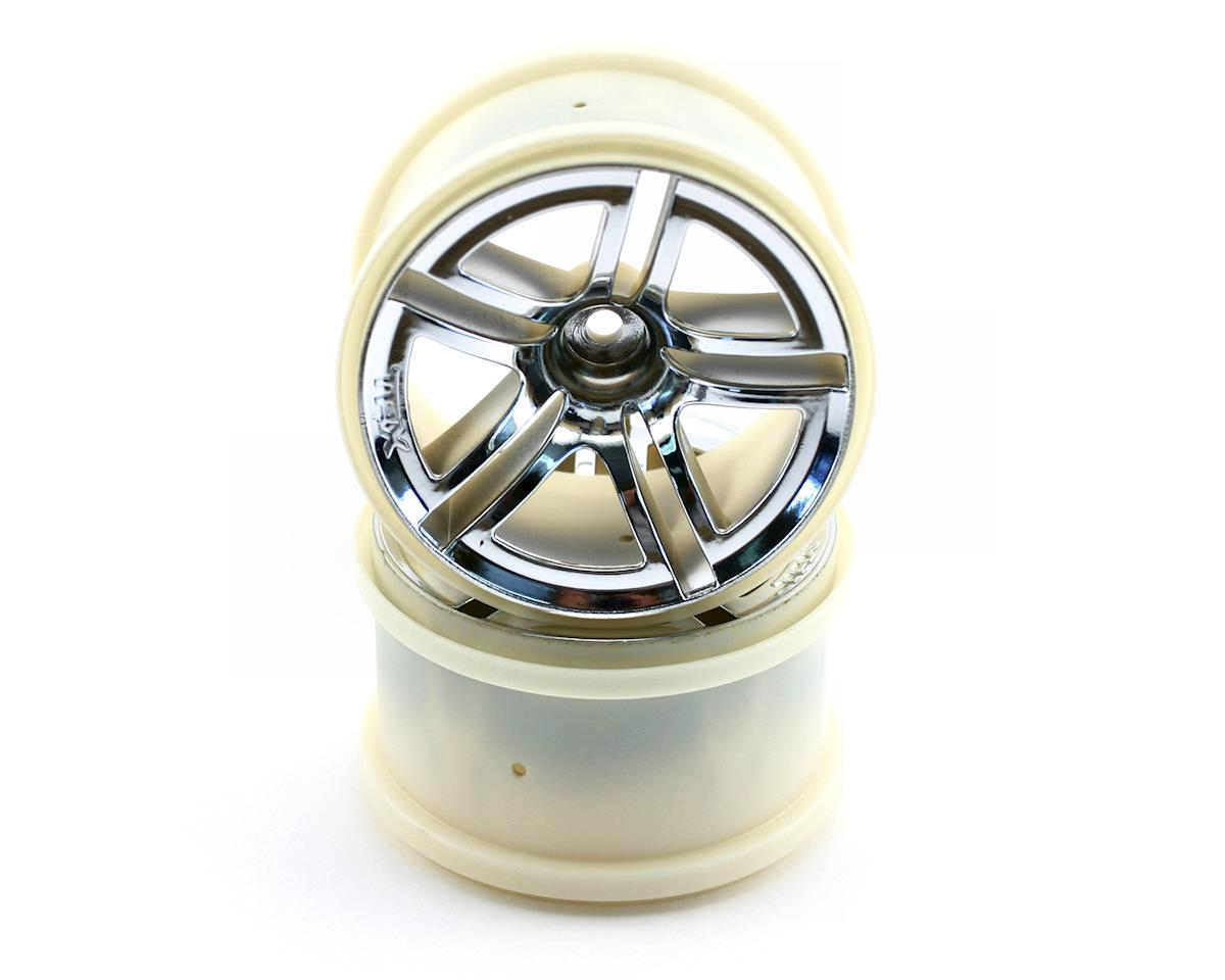 Traxxas 12mm Hex Twin Spoke Rear Wheels (2) (Jato) (Chrome)