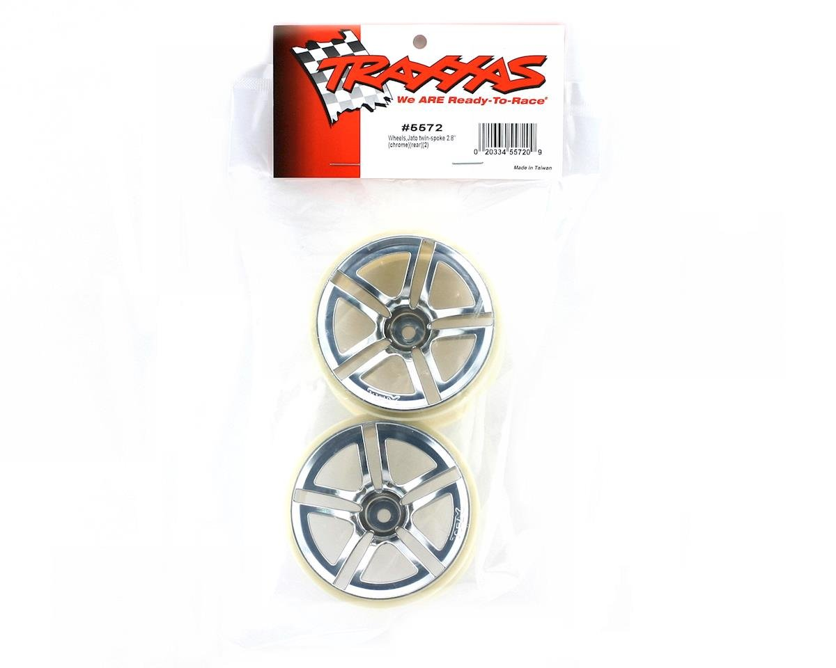 12mm Hex Twin Spoke Rear Wheels (2) (Jato) (Chrome) by Traxxas