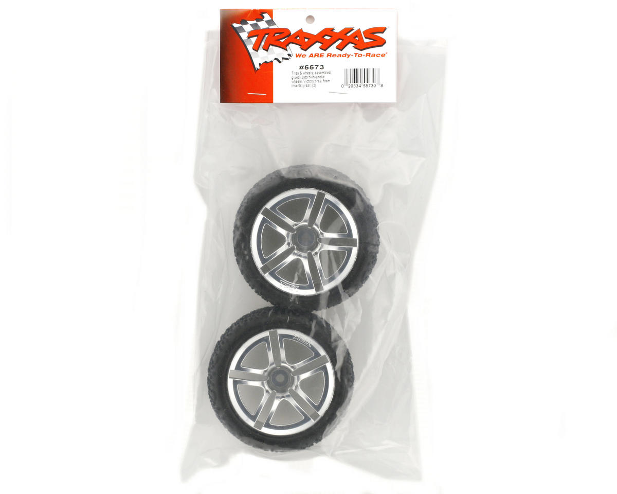 Traxxas Victory Tires w/Twin Spoke Rear Wheels (2) (Jato) (Chrome) (Standard)