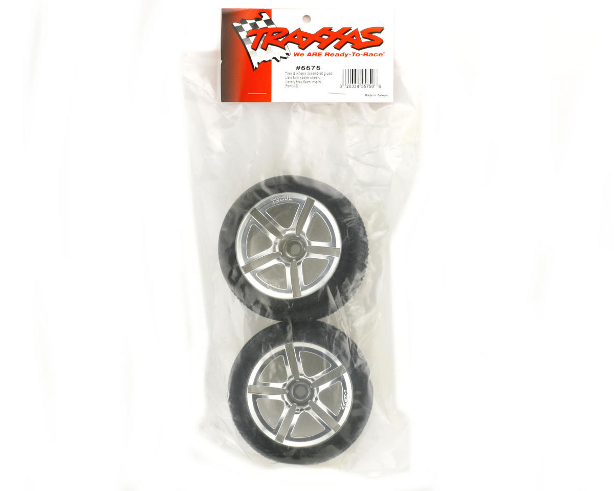 Traxxas Victory Tires w/Twin Spoke Front Wheels (2) (Jato) (Chrome) (Standard)