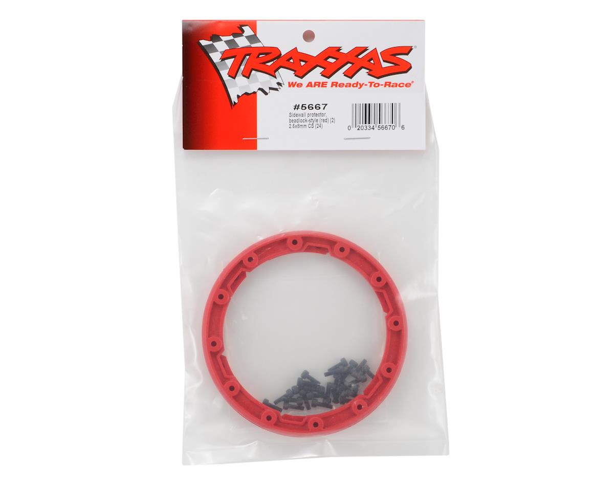 Traxxas Beadlock Style Sidewall Protector w/Hardware (Red) (2)