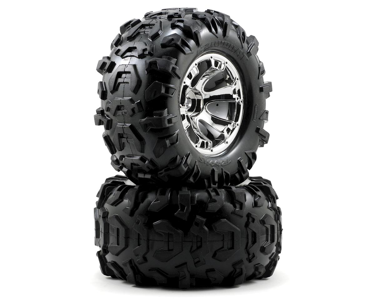 "Traxxas Canyon 3.8"" Pre-Mounted Tires w/Geode Wheels (2) (Summit) (Chrome)"