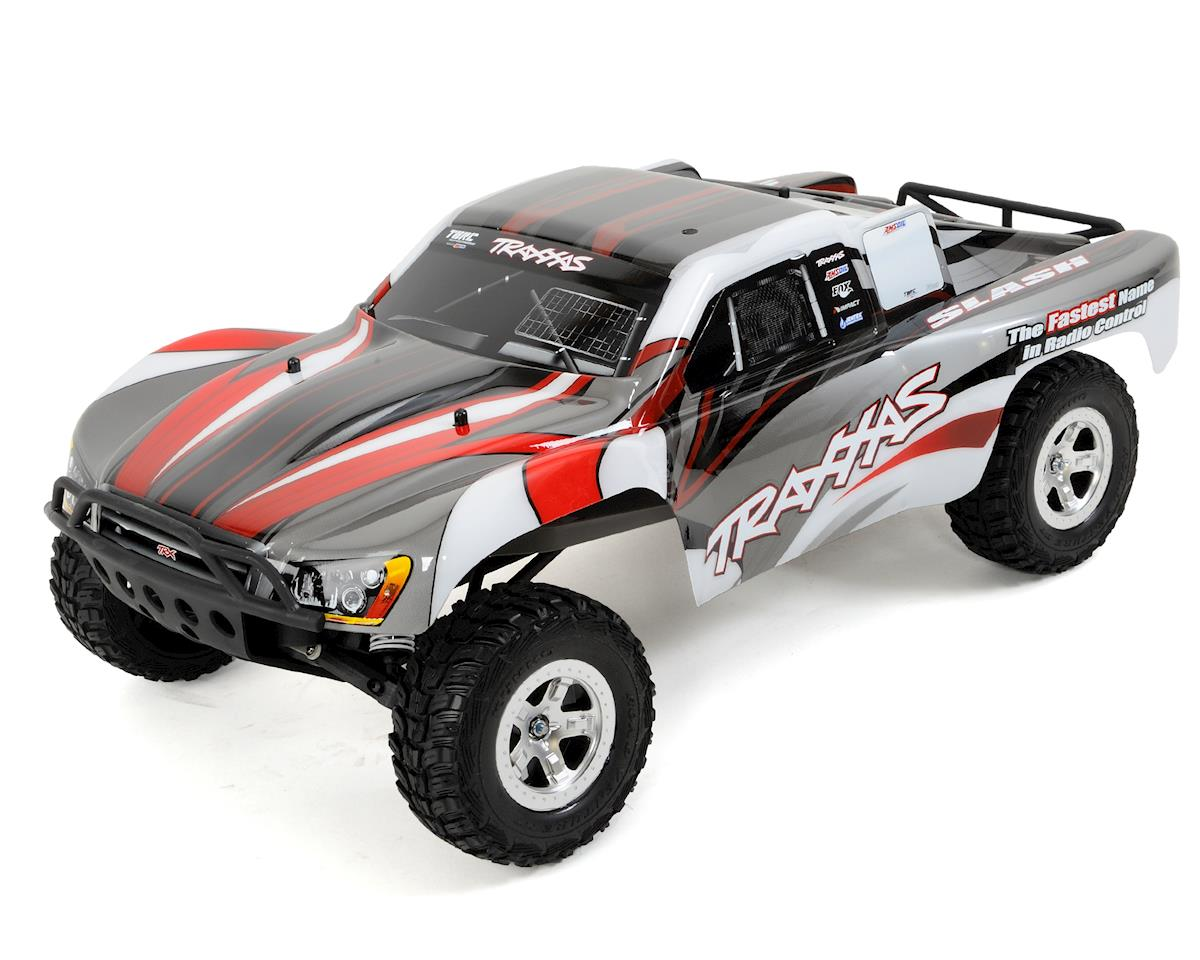 Traxxas Slash 1 10 RTR Electric 2WD Short Course Truck Silver Red TRA58024 SRED