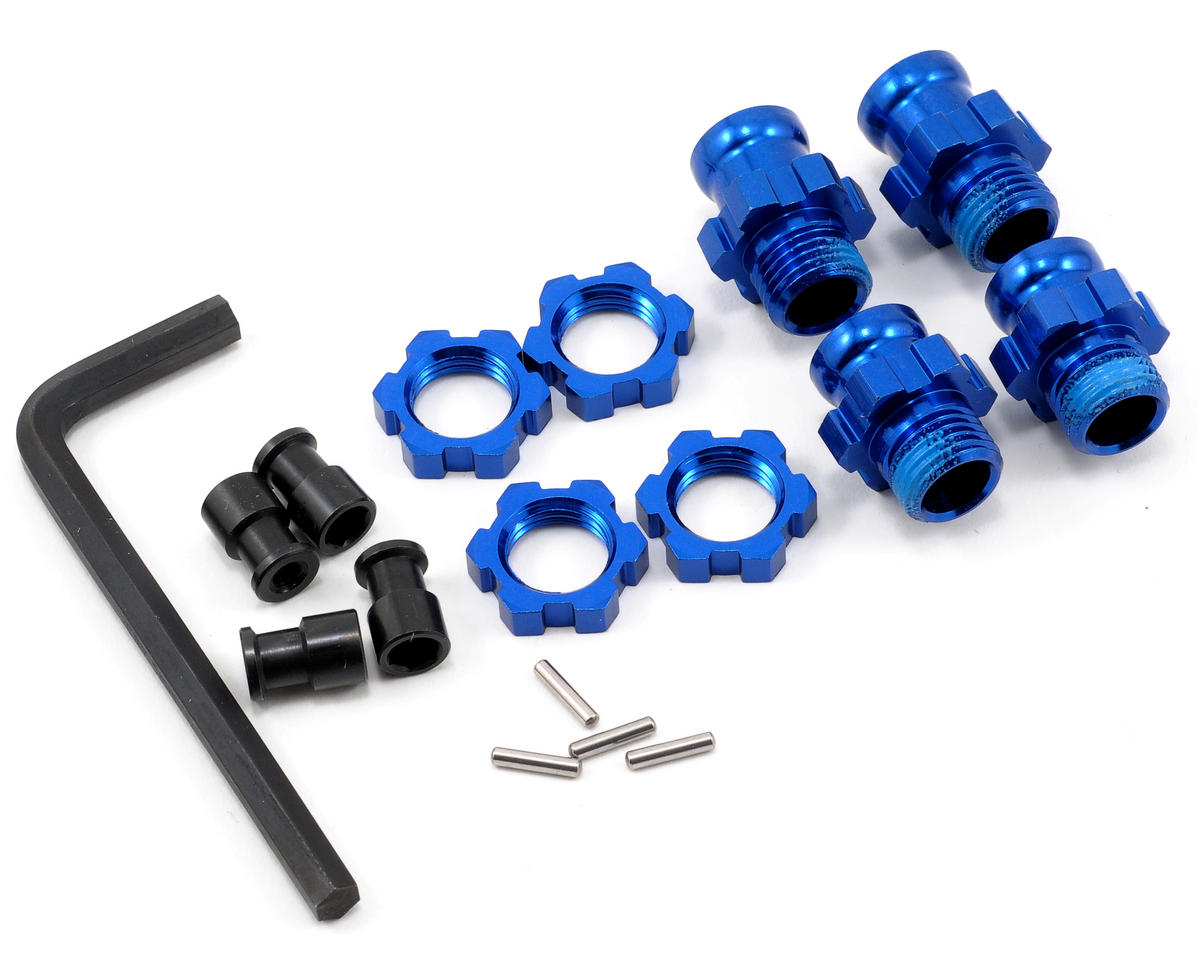 Traxxas Rustler Aluminum 17mm Wheel Adapter Set (Blue) (4)