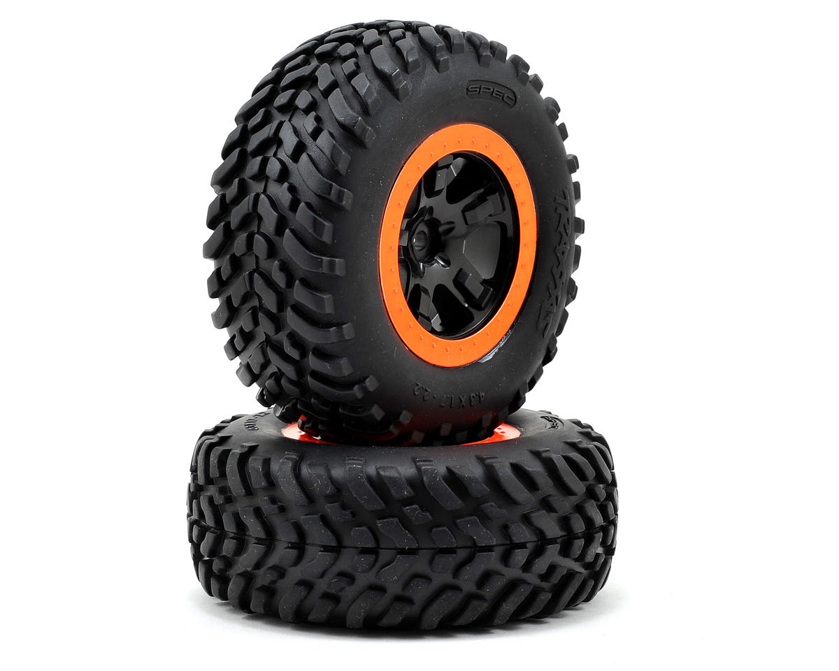 Robby Gordon Tire & Wheel (2) (Rear) (Orange) (Standard) by Traxxas