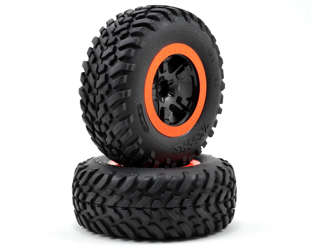 Traxxas Robby Gordon Tire & Wheel (2) (Front) (Orange) (Standard)
