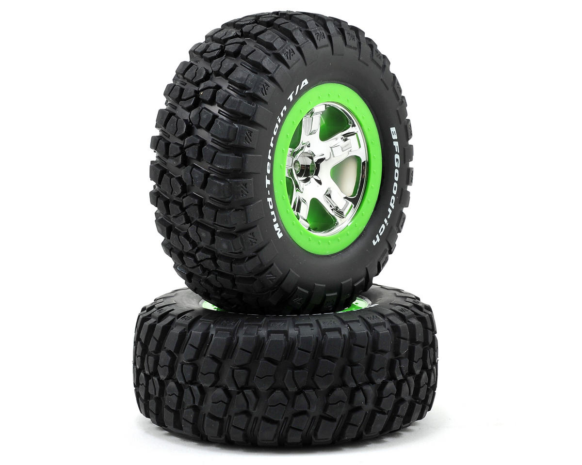 Pre-Mounted BFGoodrich KM2 Tire (2) (Front) (Chrome/Green) by Traxxas