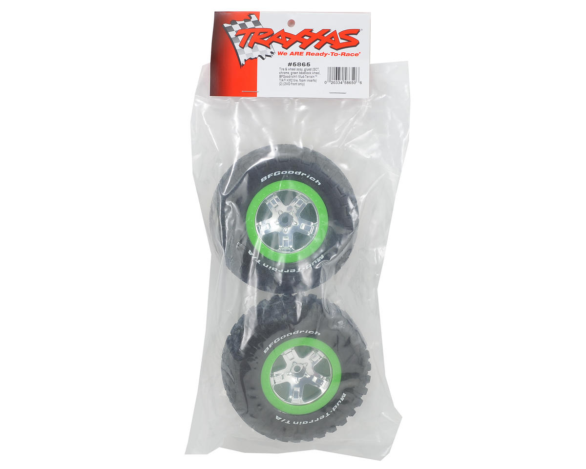 Traxxas Pre-Mounted BFGoodrich KM2 Tire (2) (Front) (Chrome/Green)