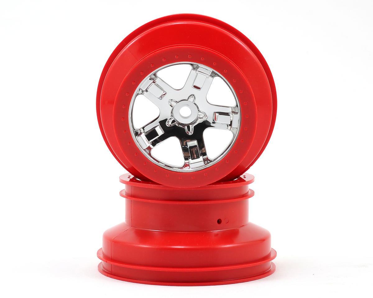 12mm Hex Dual Profile Short Course Wheels (Chrome/Red) (2) (Slash Rear) by Traxxas