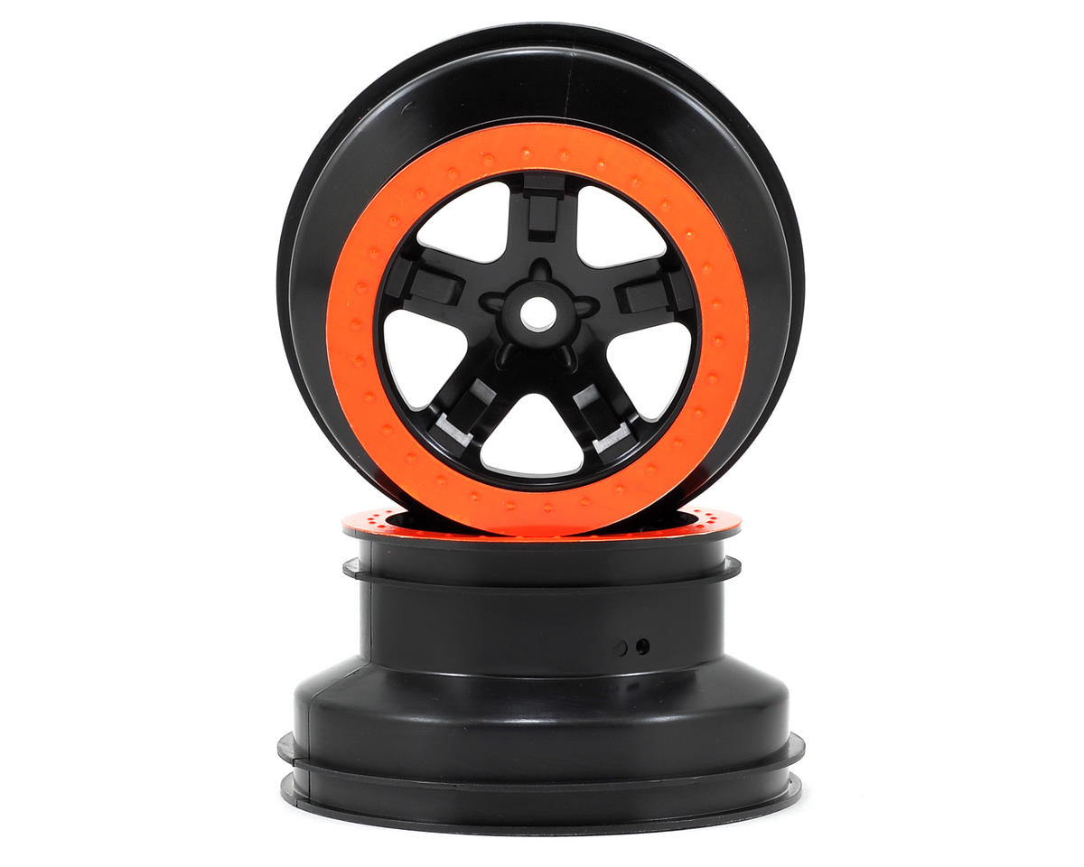 Dual Profile Short Course Wheels (Black/Orange) (2) (Slash Rear) by Traxxas