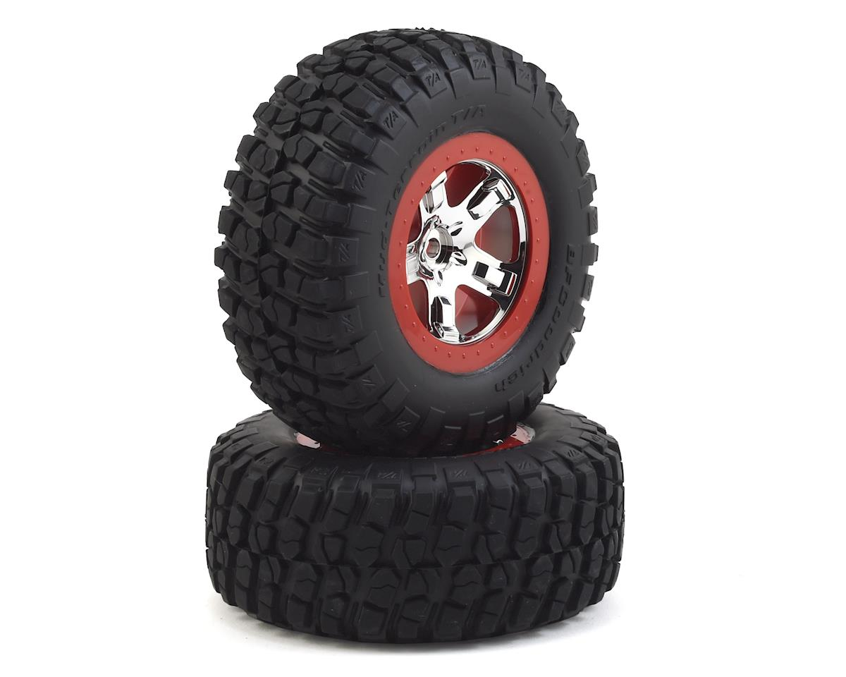 Traxxas Pre-Mounted BFGoodrich KM2 Tire w/Chrome Wheel (2) (Front) (Chrome/Red)