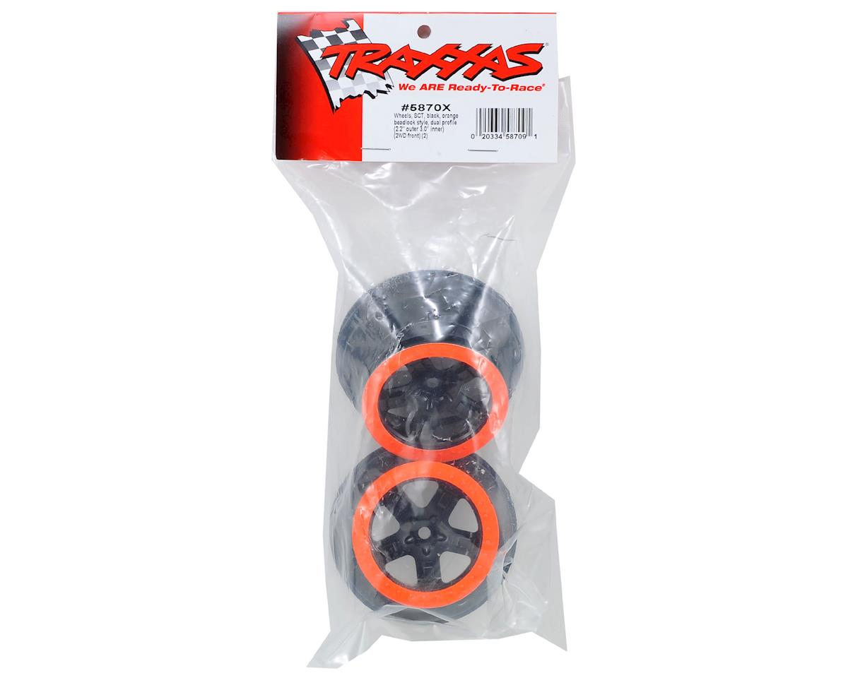 2.2/3.0 Dual Profile SCT Front Wheel (2) (Black/Orange) by Traxxas
