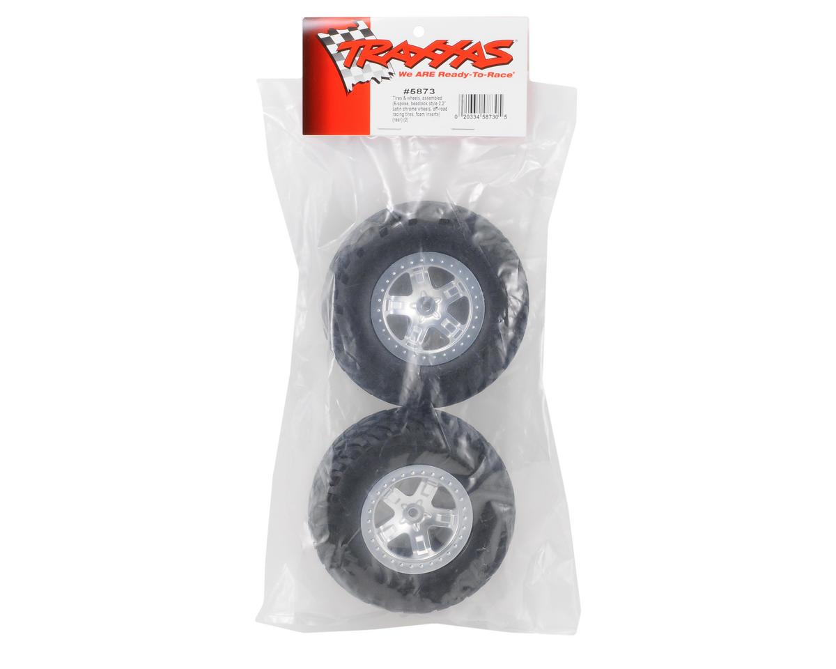 2.2/3.0 Tire w/SCT Rear Wheel (2) (Satin Chrome) (Standard) by Traxxas