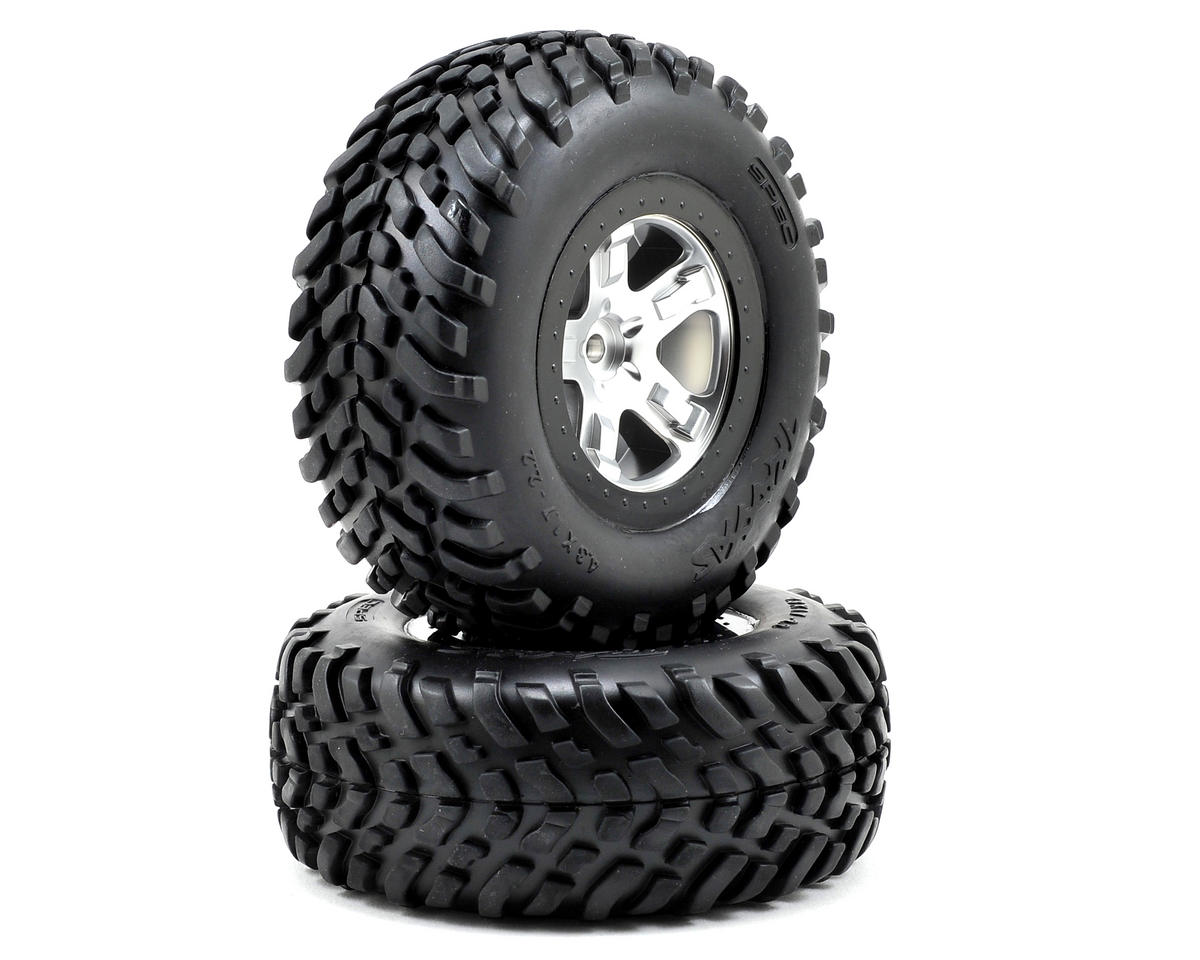 Traxxas 2.2/3.0 Tire w/SCT Rear Wheel (2) (Satin Chrome)