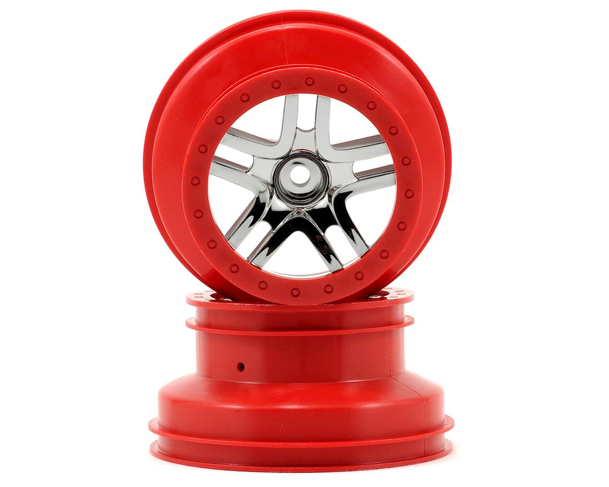 Traxxas 12mm Hex Dual Profile Split-Spoke SCT Wheels (Chrome/Red) (2) (Slash Front)